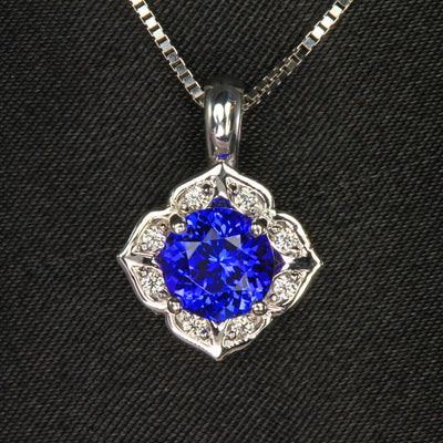14K White Gold Round Tanzanite and Diamond Pendant 1.64 Carats