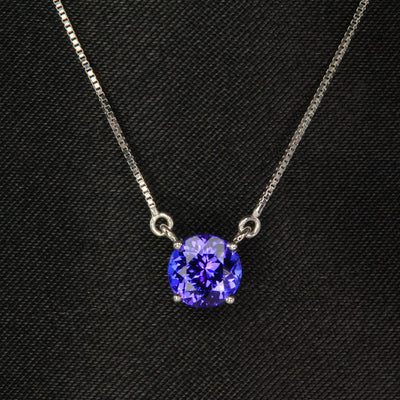 14K White Gold Round Tanzanite Necklace .86 Carats