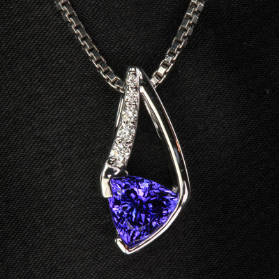 14K White Gold Trilliant Tanzanite and Diamond Pendant 2.31 Carats Designed by Christopher Michael