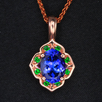14K Rose Gold Tanzanite and Tsavorite Pendant 1.99 Carats
