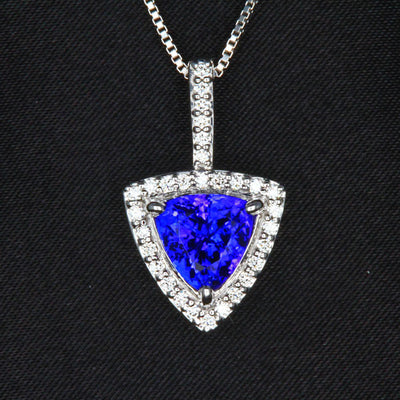 14K White Gold Trilliant Tanzanite Pendant with Diamond Halo 2.69 Carats