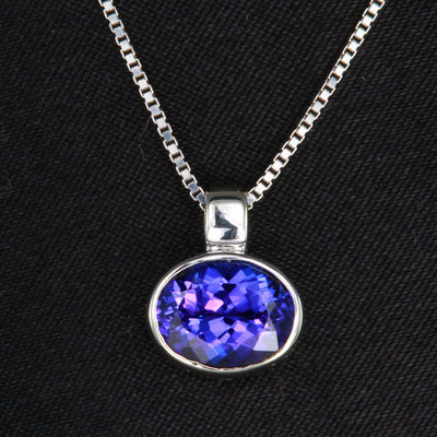 14k White Gold Oval Tanzanite Pendant 1.92 Carats