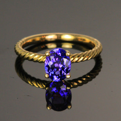 18K Yellow Gold Oval Tanzanite Ring 1.33 Carats