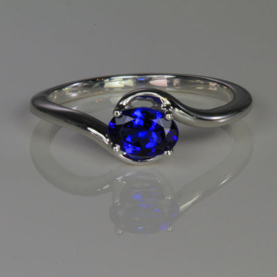 14K White Gold Oval Tanzanite Ring .64 Carats