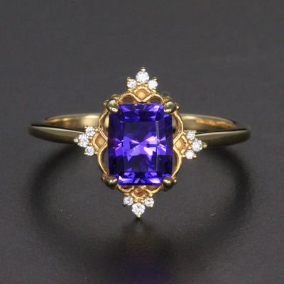 14k Yellow Gold Tanzanite Ring with Diamond Accents 2.14 Carats