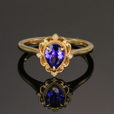 14K Yellow Gold Pear Shape Tanzanite Ring .67 Carats
