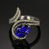 Pear Shape Tanzanite and Diamond Swirl Ring 3.83 Carats Designed by Christopher Michael