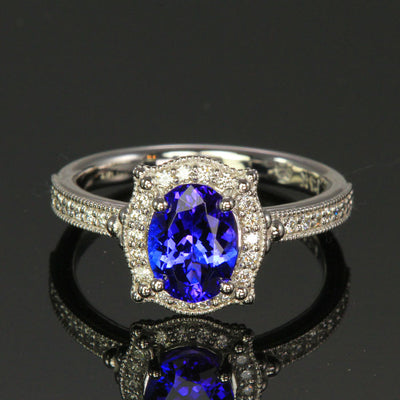 14K White Gold Tanzanite and Diamond Halo Ring 1.69 Carats