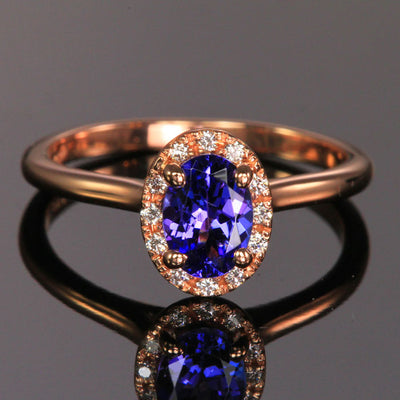 14k Rose Gold Oval Tanzanite and Diamond Halo Ring .88 Carats