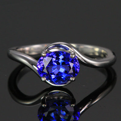 14K White Gold Oval Tanzanite Ring 1.45 Carats