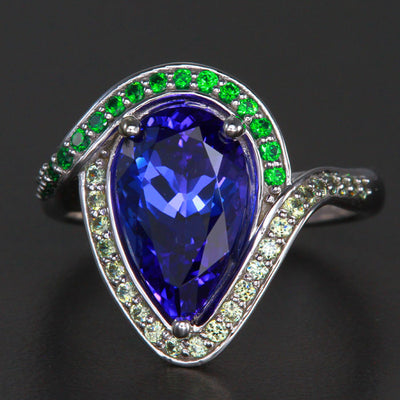 14k White Gold Pear Shape Tanzanite, Tsavorite and Demantoid Ring  3.73 Carats