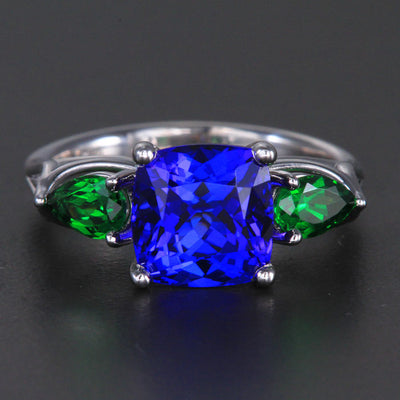 14k White Gold Tanzanite and Tsavorite Ring 4.32 Carats