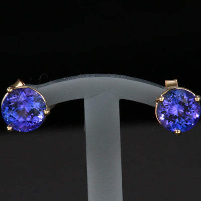 14k Yellow Gold Round Tanzanite Stud Earrings 2.07 Carats