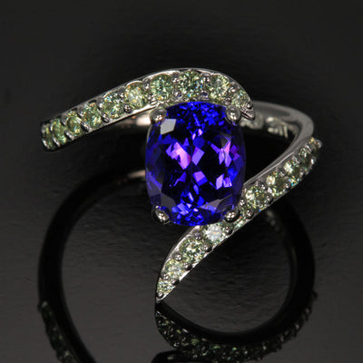 14K White Gold Antique Cushion Tanzanite and Diamond Ring 3.05 Carats Designed by Christopher Michael