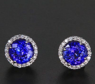 14k White Gold Round Tanzanite and Diamond Halo Earrings 3.22 Carats