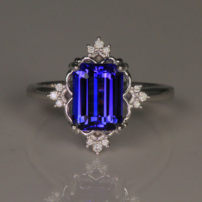 14K White Gold Emerald Cut Tanzanite and Diamond Ring 2.77 Carats