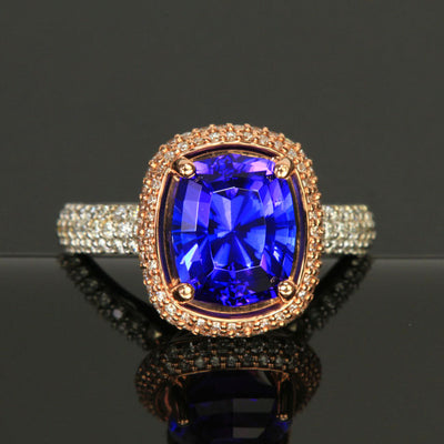 14K White & Rose Gold Tanzanite and Diamond Ring 4.07 Carats