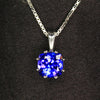 14K White Gold Square Cushion Tanzanite Pendant 1.76 Carats