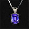 14k White Gold Emerald Cut Tanzanite Pendant 1.43 Carats