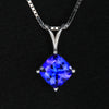 14k White Gold Square Cushion Tanzanite Pendant 1.71 Carats