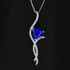 14K White Gold Trilliant Tanzanite and Diamond Pendant 3.56 Carats