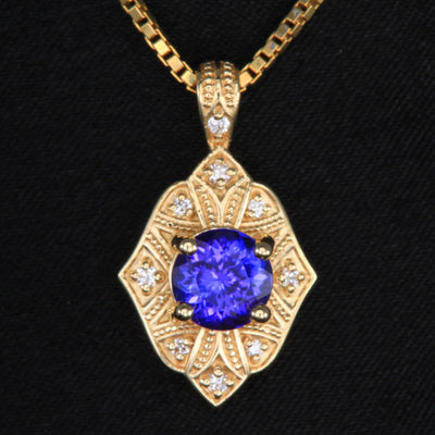 14k Yellow Gold Tanzanite and Diamond Pendant