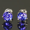 1.48 Carats Round Tanzanite Stud Earrings