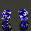 3.55 Carats Tanzanite Oval Stud Earrings