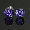 Round Tanzanite Earrings 3.03 Carat Violet Blue Vivid Color
