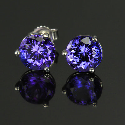 Violet Blue Vivid Round Tanzanite Earrings 3.03 Carats 7mm