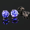 Violet Blue Round Tanzanite Stud Earrings  1.25 Carats