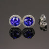 14k White Gold Round Tanzanite Stud Earrings with Halo 1.87 Carats