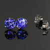 14k White Gold Round Tanzanite Stud Earrings 5mm 1.05 Carats