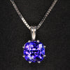 Square Cushion Tanzanite Pendant in 14 carat white gold