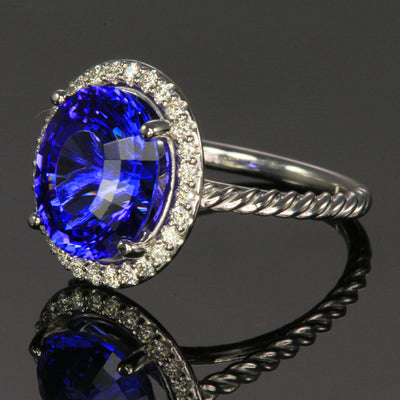 14K White Gold Tanzanite with Diamond Halo Ring 5.25 Carats