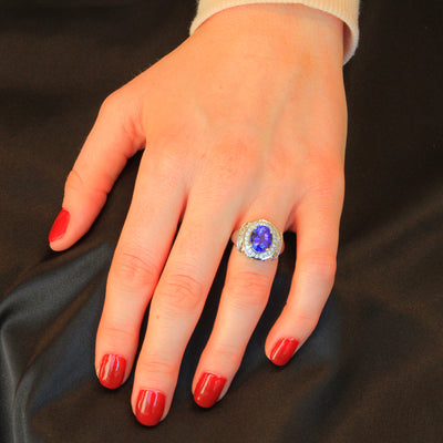 14K White Gold Tanzanite Ring With Fine Diamonds Ring 3.51 Carats