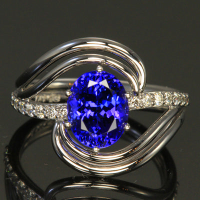 14K White Gold Oval Tanzanite and Diamond Ring by Christopher Michael  3.26 Carats