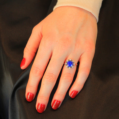 14K White Gold Square Cushion Tanzanite and Diamond Ring