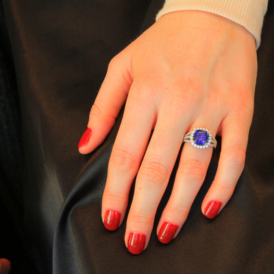 Platinum Square Cushion Tanzanite and Diamond Ring 3.33 Carats