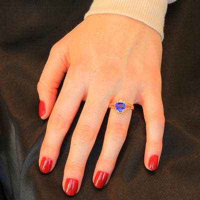 14K Yellow Gold Trilliant Tanzanite and Diamond Ring 2.74 Carats Designed by Christopher Michael