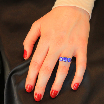 14K White Gold Three Stone Tanzanite Ring 5.30 Carats designed by Steve Moriarty