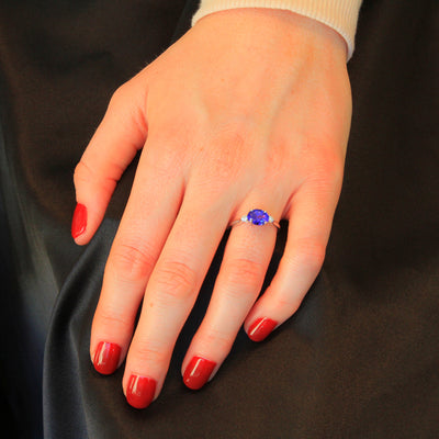 14K White Gold Oval Tanzanite and Diamond Ring 1.83 Carats