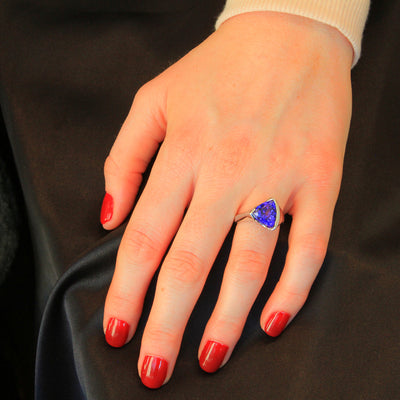 14K White Gold Trilliant Tanzanite Ring 5.32 Carats by Christopher Michael