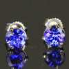 1.28 Carats Round Tanzanite Stud Earrings