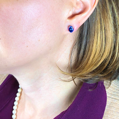 14k White Gold Stud Tanzanite Earrings 3.75 Carats