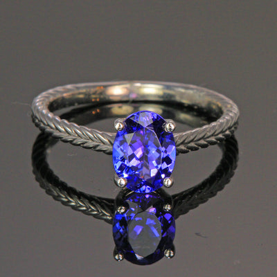 14K White Gold Oval Tanzanite Ring 1.32 Carats