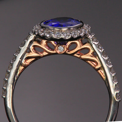 14K White and Rose Gold Oval Tanzanite Ring with Diamond Halo 2.09 Carats