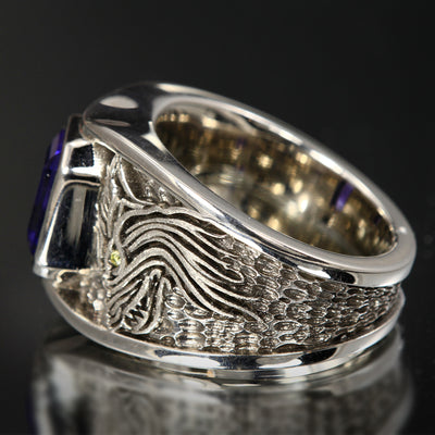 Men's Tanzanite and Diamond Wolf Ring in Palladium