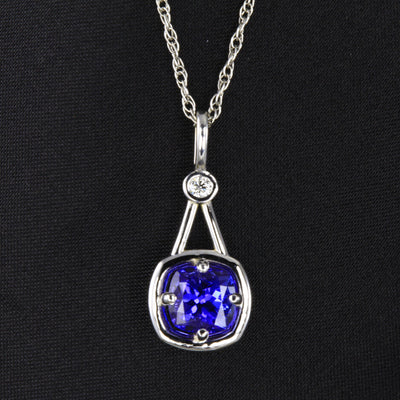 Tanzanite Pendant 1.87 Carat Square Cushion