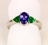 Tanzanite Ring  Accented by Tsavorite Garnet Trilliants